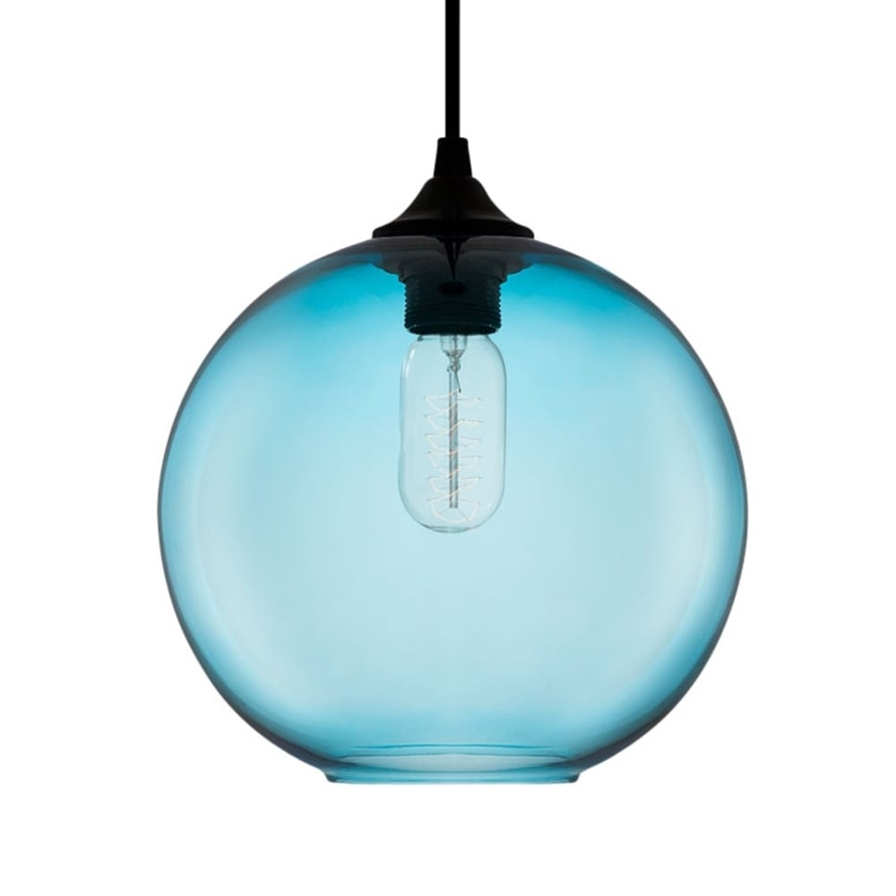 Blue industrial solitaire glass pendant light bar for Suspension luminaire gris
