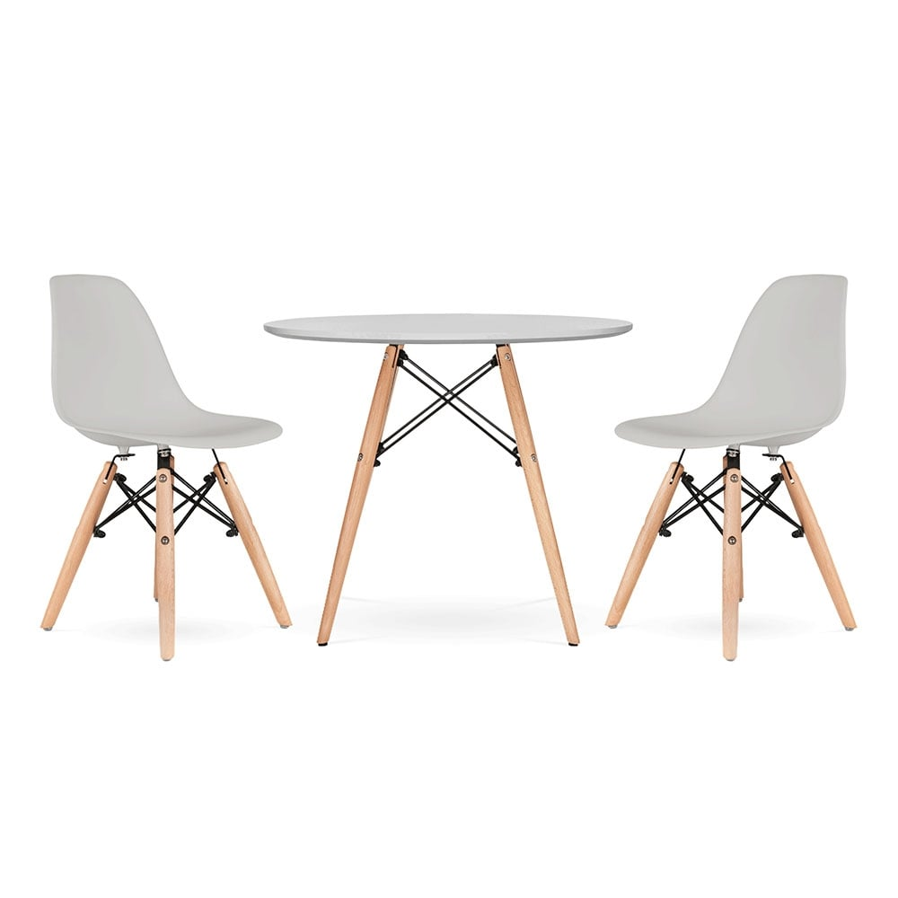 Iconic Designs Kids DSW Dining Set   1 Table U0026 2 Chairs   Light Grey