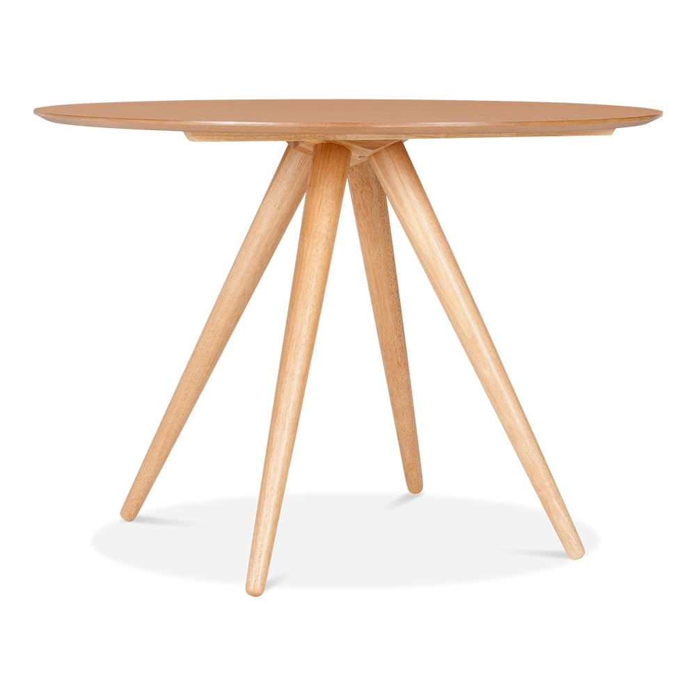 Natural olsen round dining table in natural wood 106cm for Natural wood round table