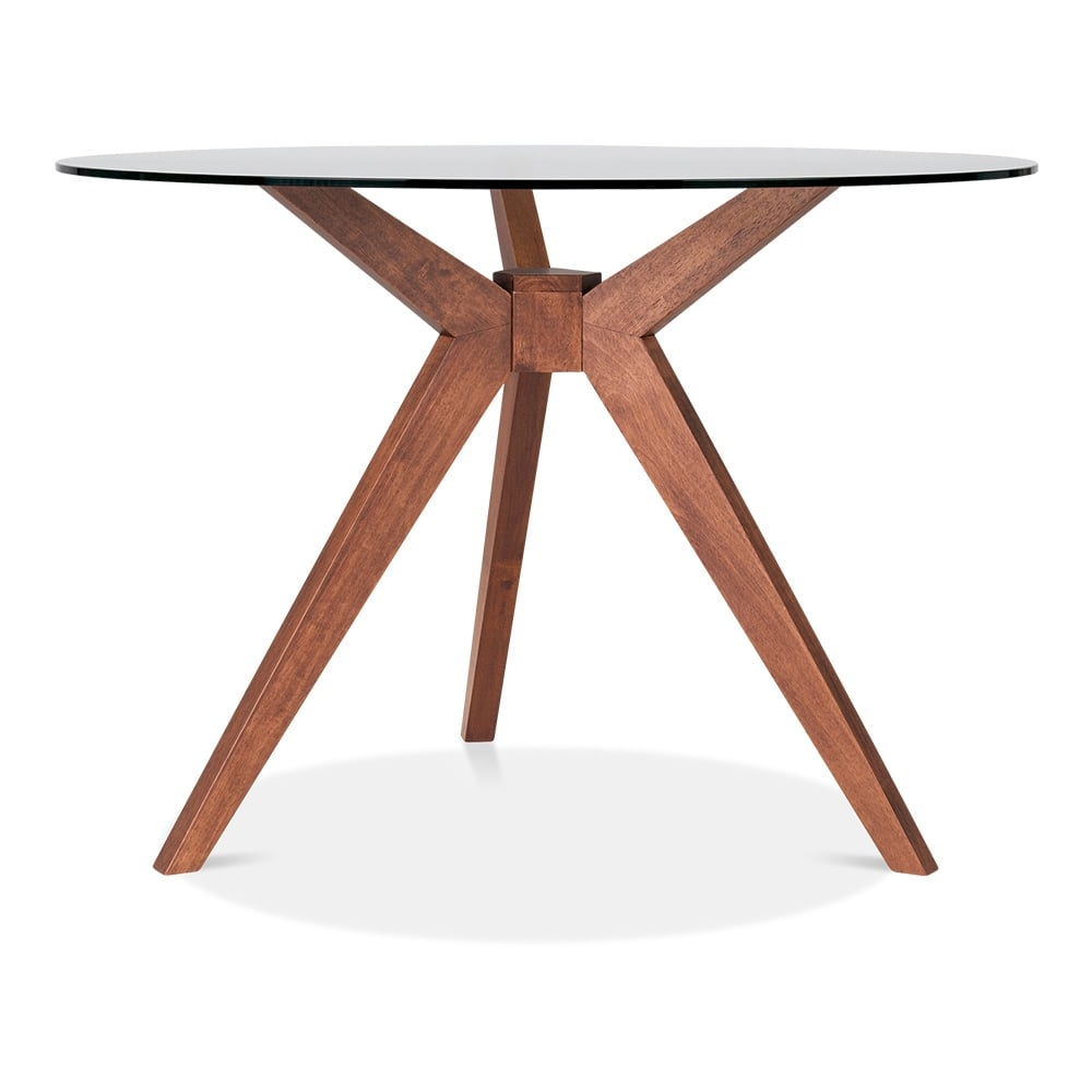 Cult Living Vallentuna Glass Round Dining Table   Walnut 75cm