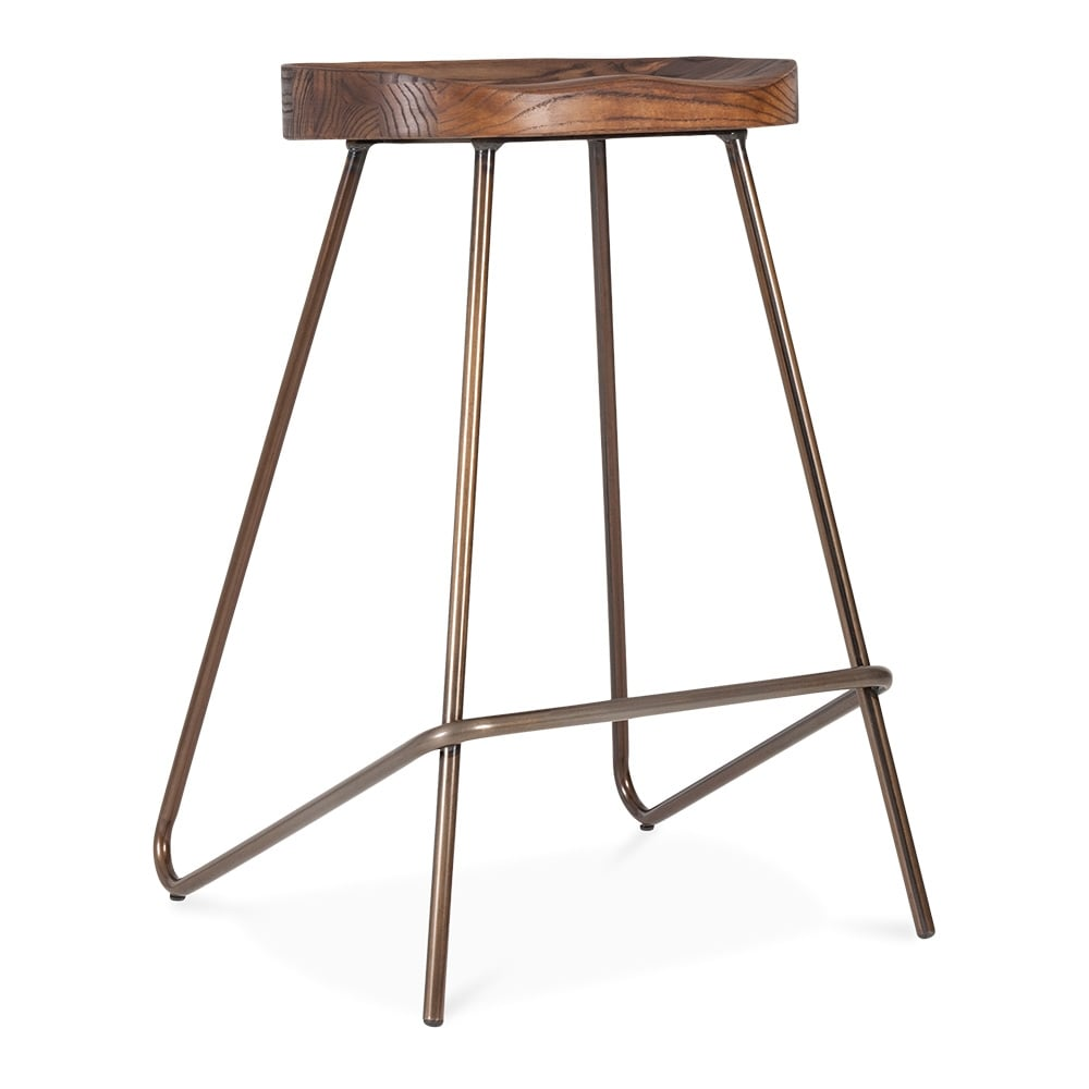 norse metal bar stool solid elm wood seat gunmetal 65cm