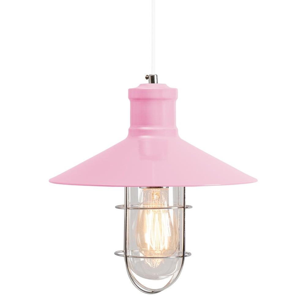 Pink Industrial Pendant Light: Harbour Pastel Pink Caged Pendant Light