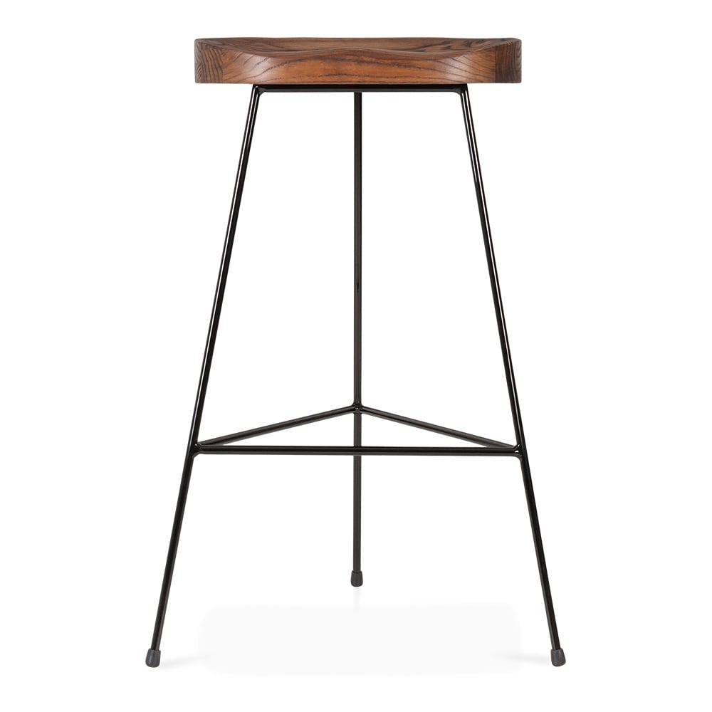 Black brixton metal bar stool with dark wood seat 75cm for Dark wood bar stools