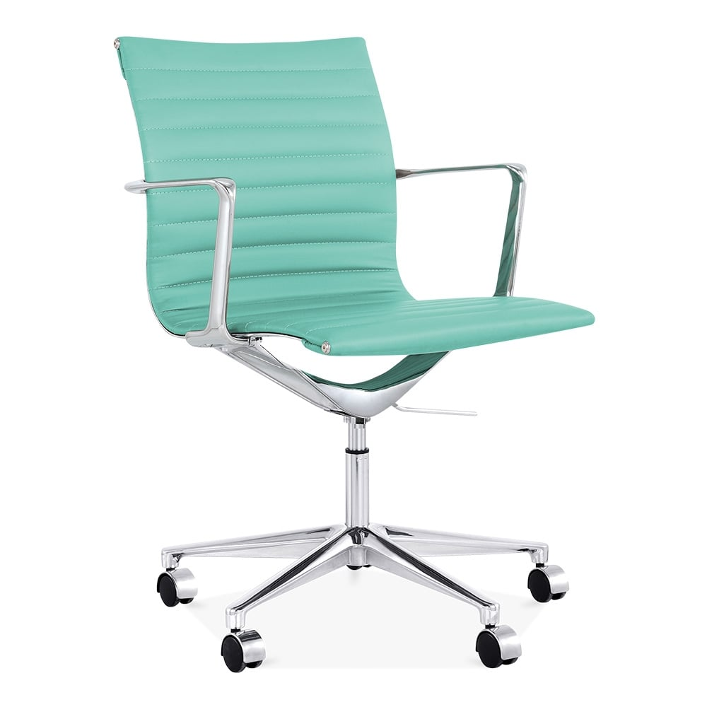 Cult living turquoise ribbed office chair with short back - Chaise de bureau blanche ...