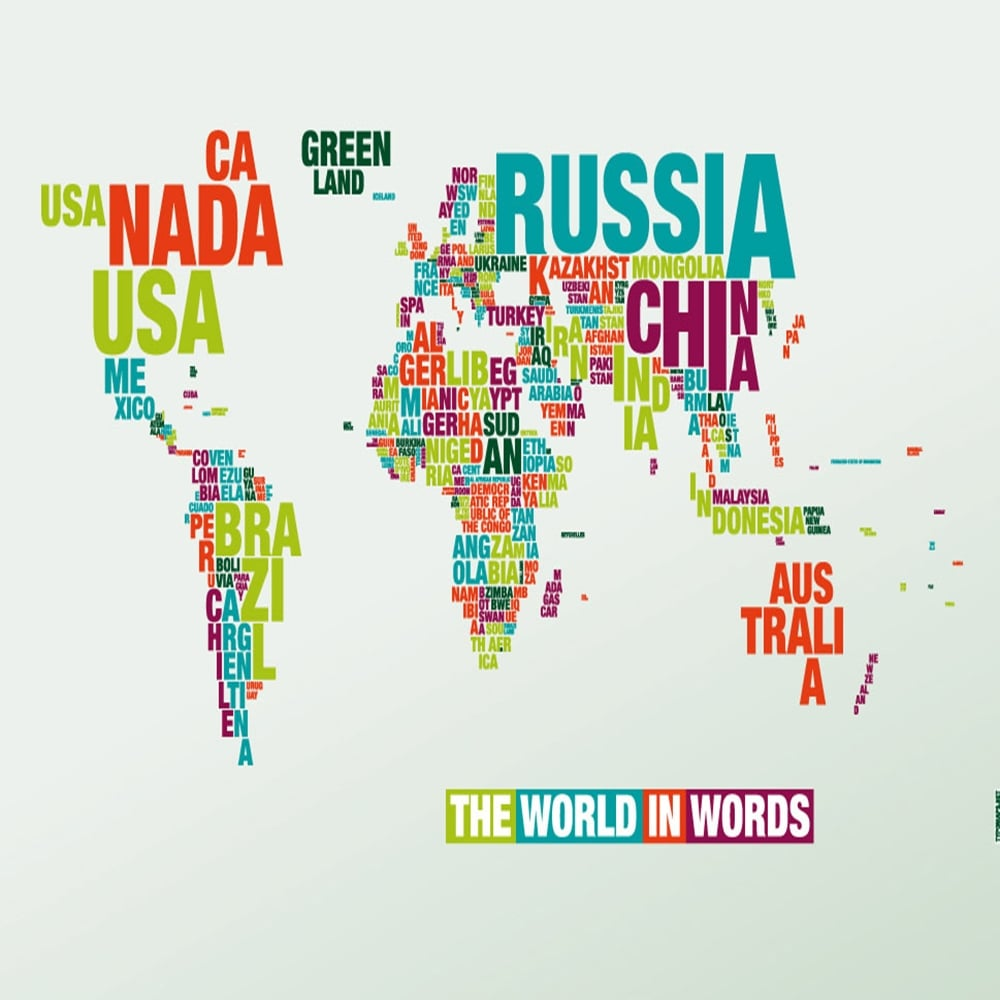 World map kids printable giant world megamap laminated 77 x 46 word world map in words poster gumiabroncs Images