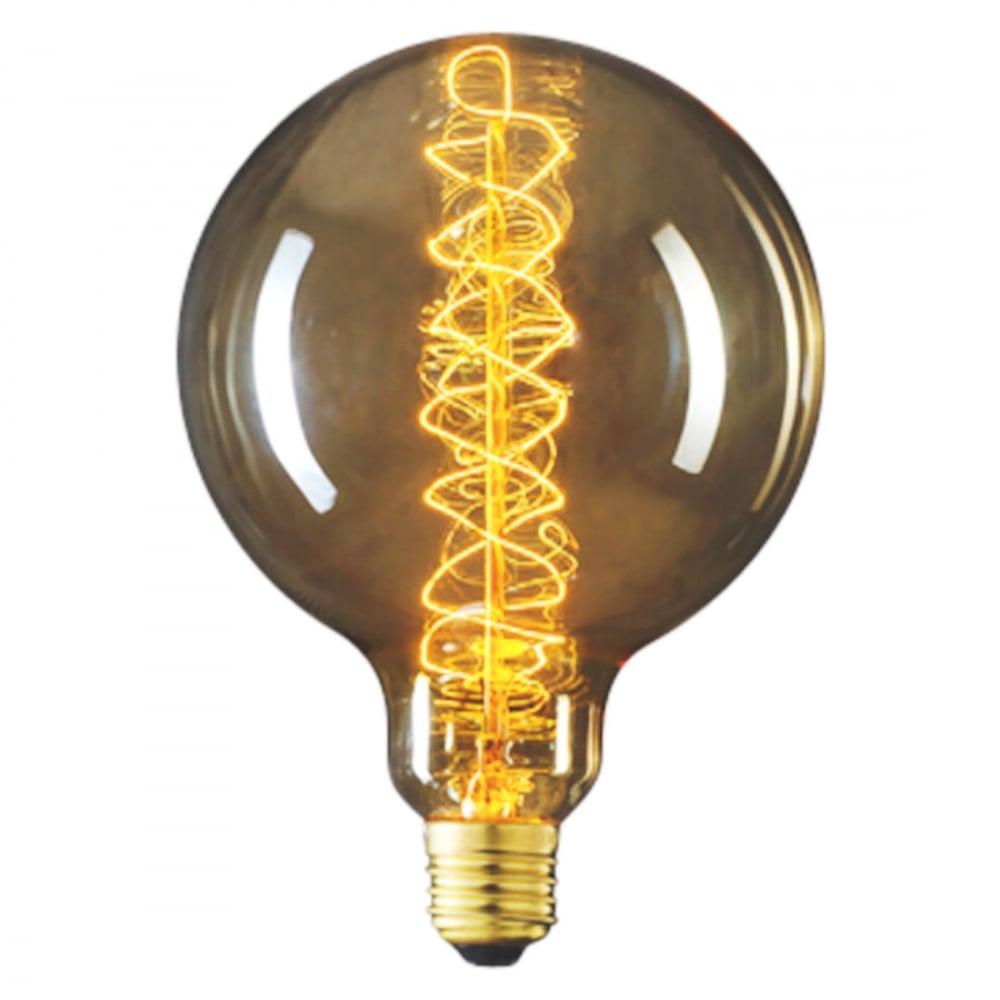 Edison Large Round Globe G125 Filament Bulb Spiral Cult Uk