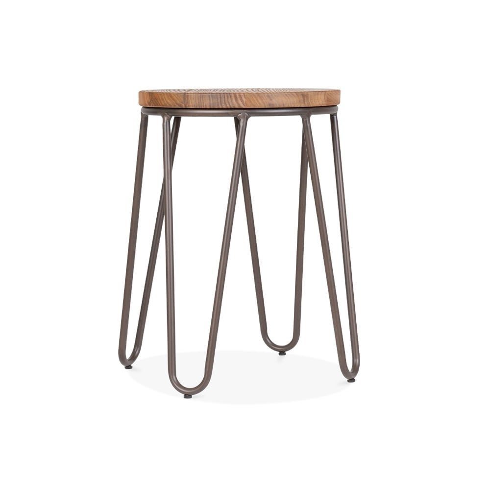 Cult Living Hairpin 44cm Stool In Rustic With Wood Seat