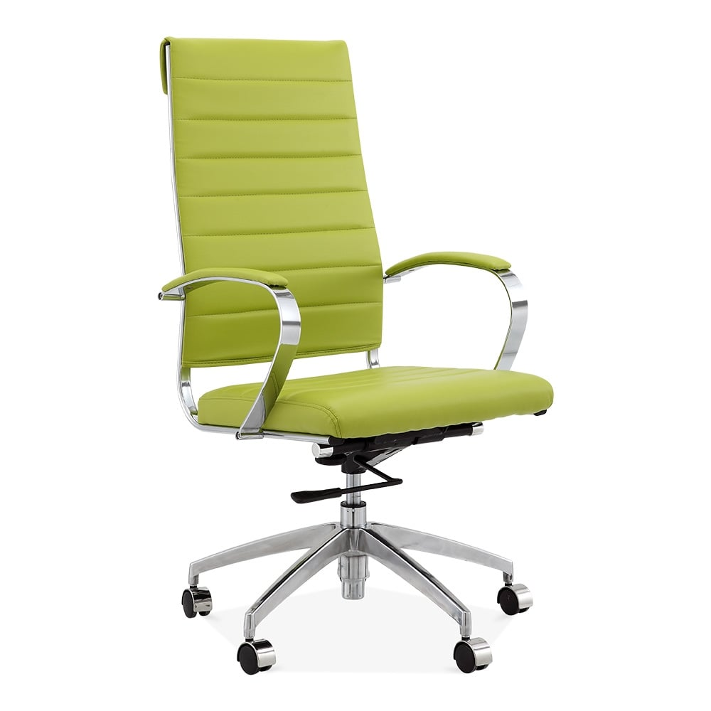 modern leather office chair. deluxe high back office chair - apple green modern leather