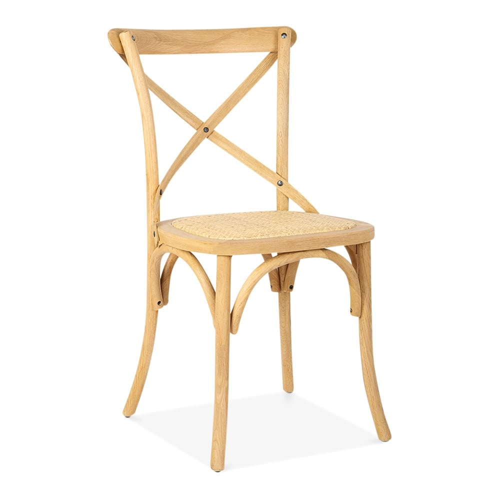 cult living crossed back bistro chair in natural colour french bistro cafe chairs - Bistro Chairs