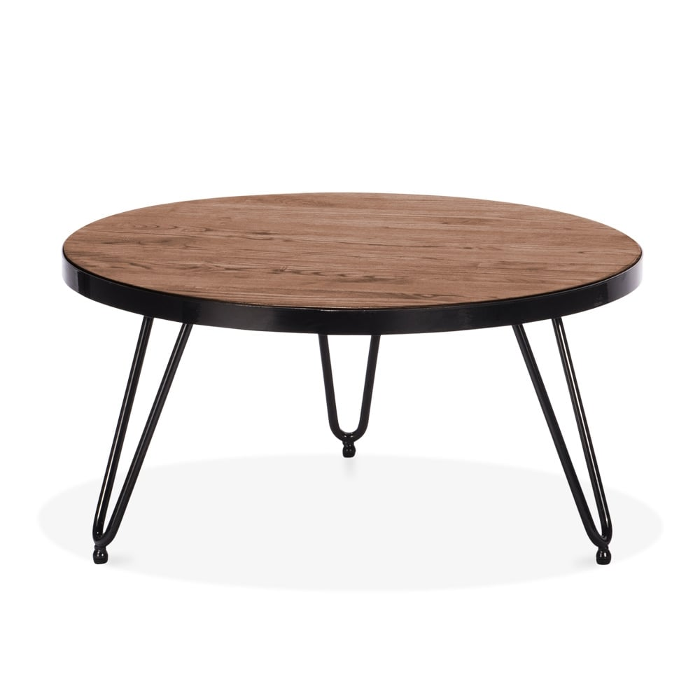 Cult Living Hairpin Round Side Table   Walnut 71cm