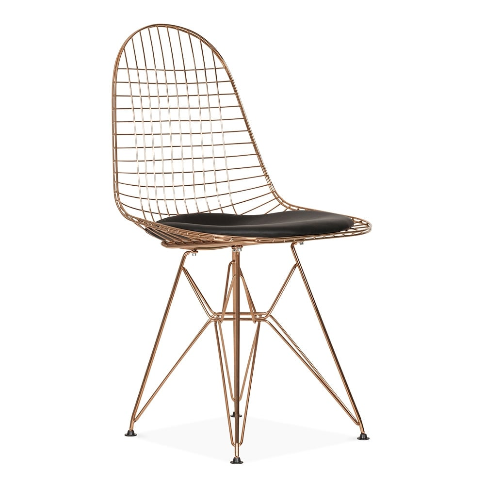 Eames copper dkr wire chair cafe dining chairs cult for Metal design chair