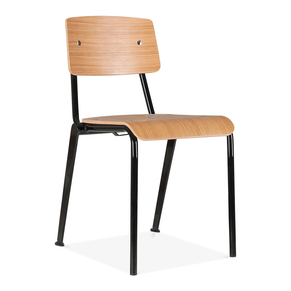 Cult living french school chair in black with wood option for Furniture chairs