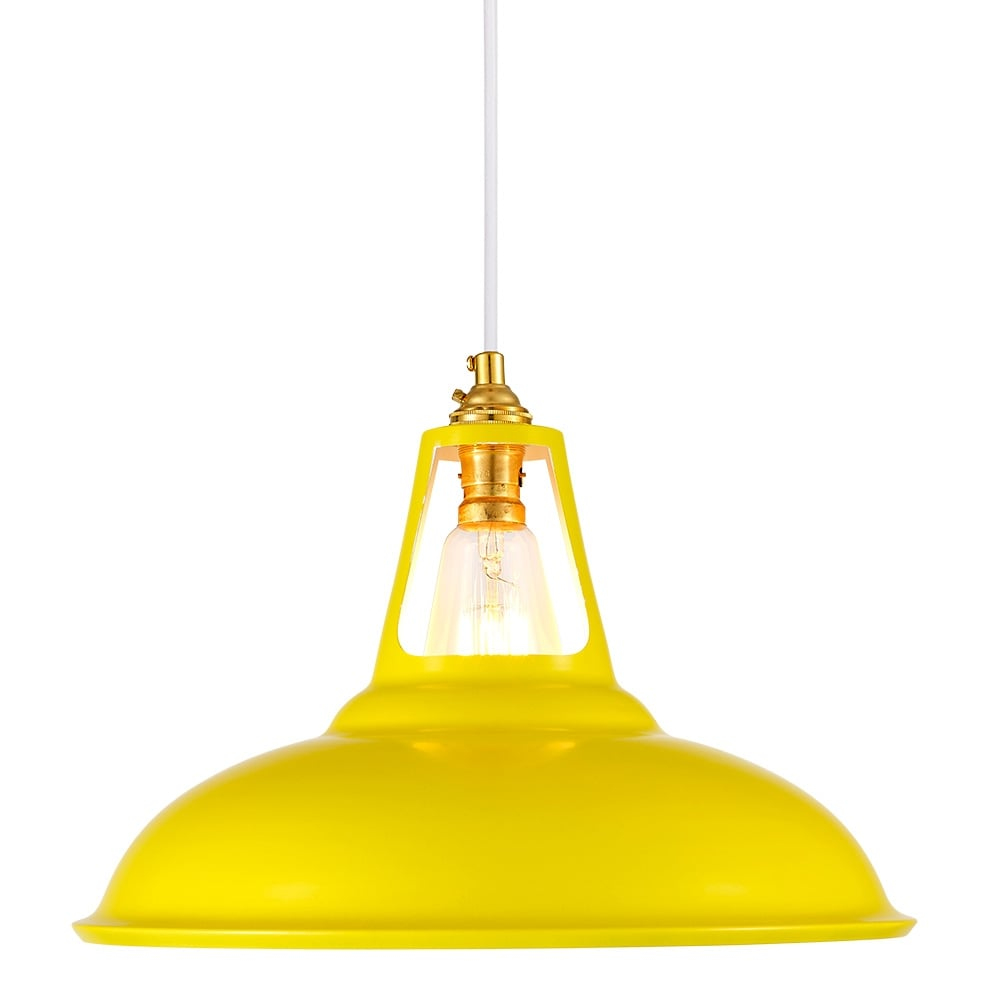 cult living dulwich yellow industrial pendant lamp cult