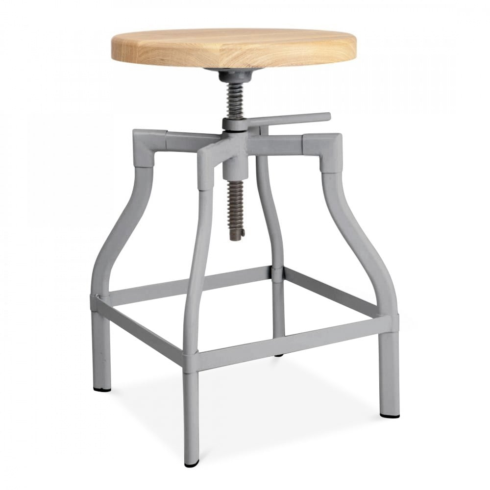 Cool Kitchen Stools: Industrial Swivel Adjustable Stool In Cool Grey 45-65cm