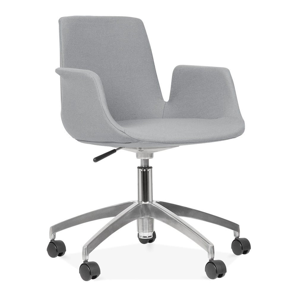 fully backrest star and seat lugo chair products upholstered dark desk ola base grey with hotel castors
