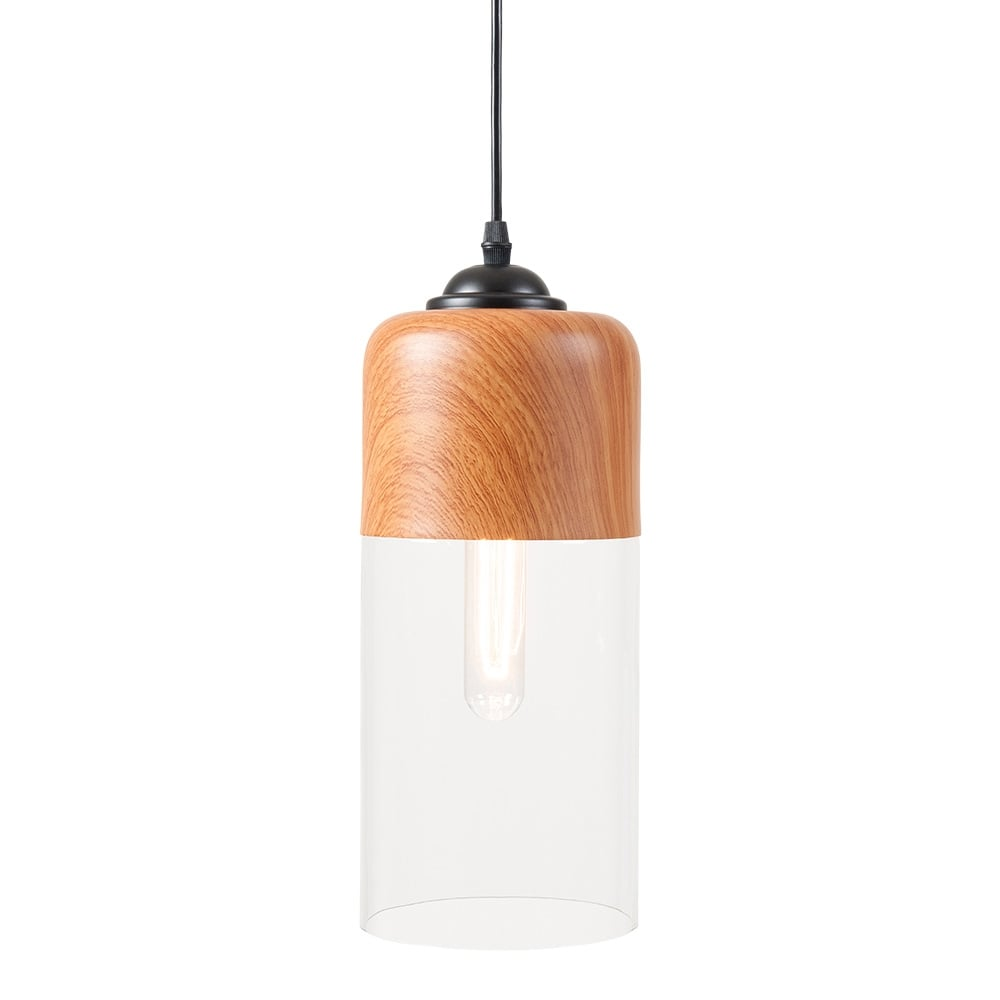 Cult Living Enya Cylinder Pendant Light Wood Effect