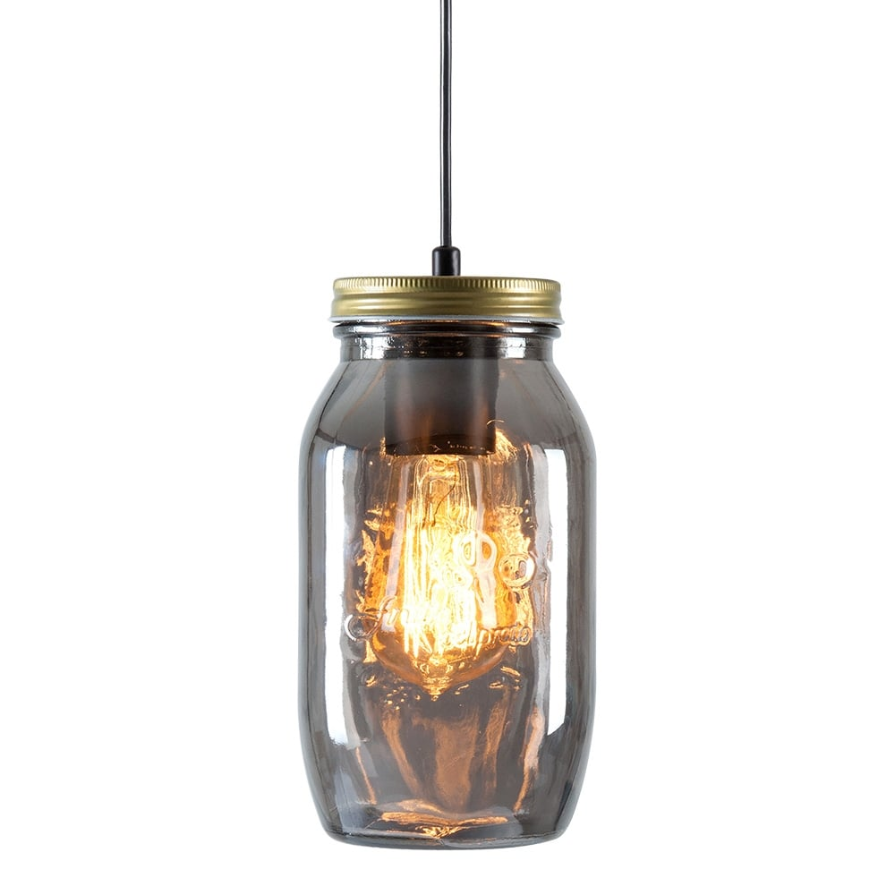 Cult Living Mason Jar Large Pendant Light Black Mirror