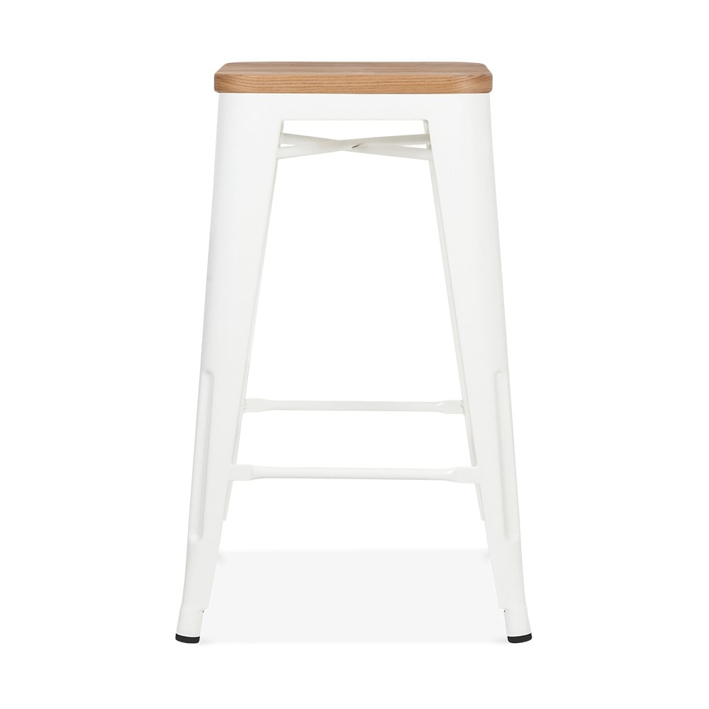Xavier Pauchard Tolix Style Metal Stool with Natural Wood Seat - White 65cm. u2039  sc 1 st  Cult Furniture & White with Natural Wood Seat 65cm Tolix Style Stool | Cult UK islam-shia.org