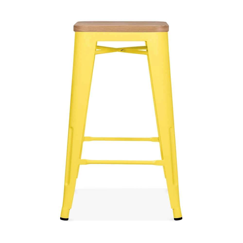 Xavier Pauchard Tolix Style Metal Stool With Natural Wood Seat Yellow 65cm