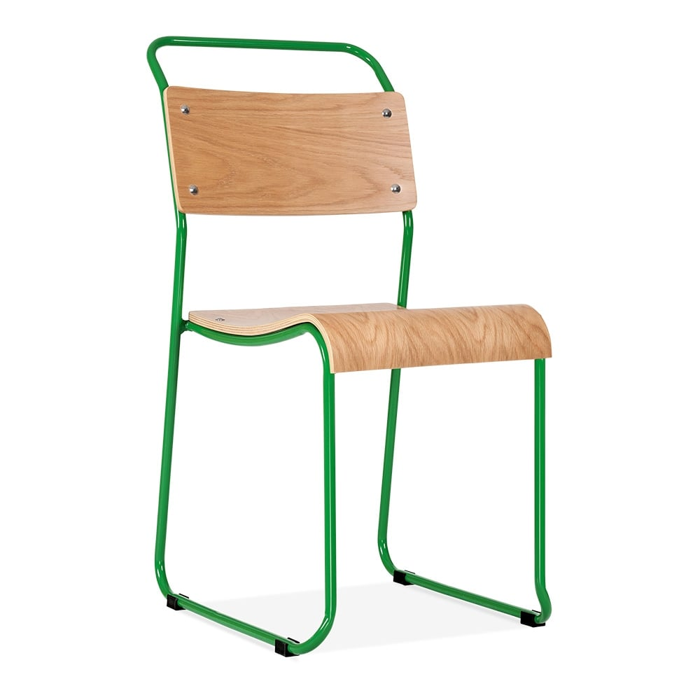 bauhaus industrial green stackable chair  dining chairs  cult uk - cult living bauhaus stackable chair  green