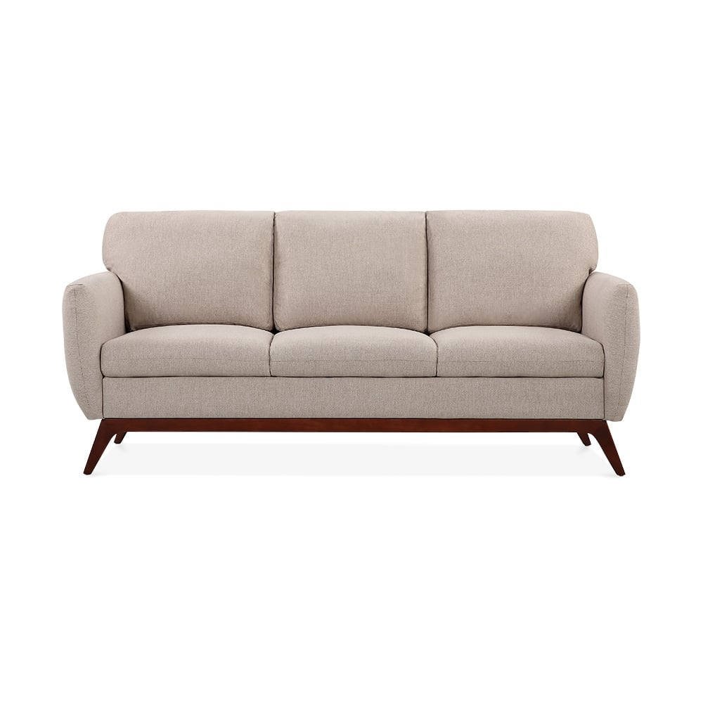 Jensen 3 Seater Sofa Fabric Upholstered Cream Cult