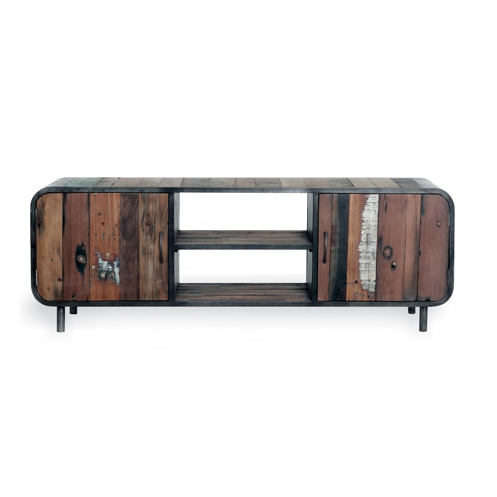 Havana Retro Media Unit  Reclaimed Boat Wood and Steel  Brown. Birdcage reclaimed brown mango wood bar table   Cult Furniture UK