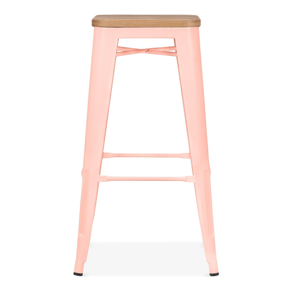 Pastel Pink with Natural Wood Seat 75cm Tolix Style Stool | Cult UK