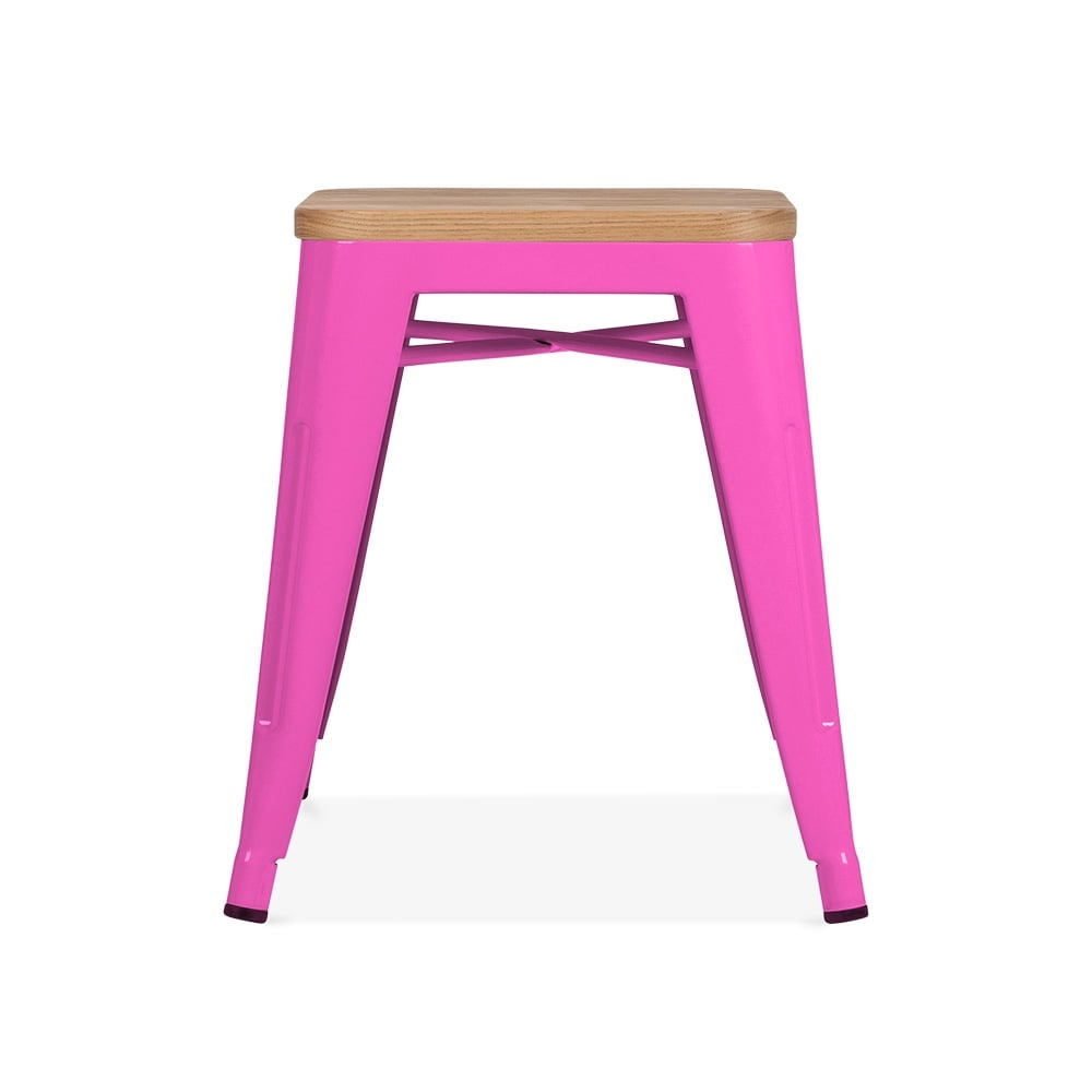 Hot Pink with Natural Wood Seat 45cm Tolix Style Stool | Cult UK
