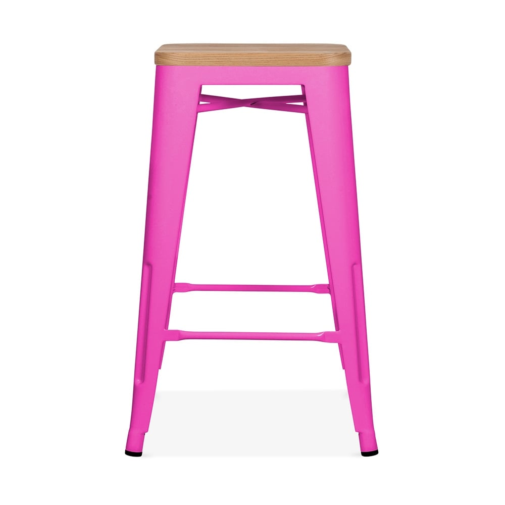Xavier Pauchard Tolix Style Metal Stool with Natural Wood Seat Hot Pink cm
