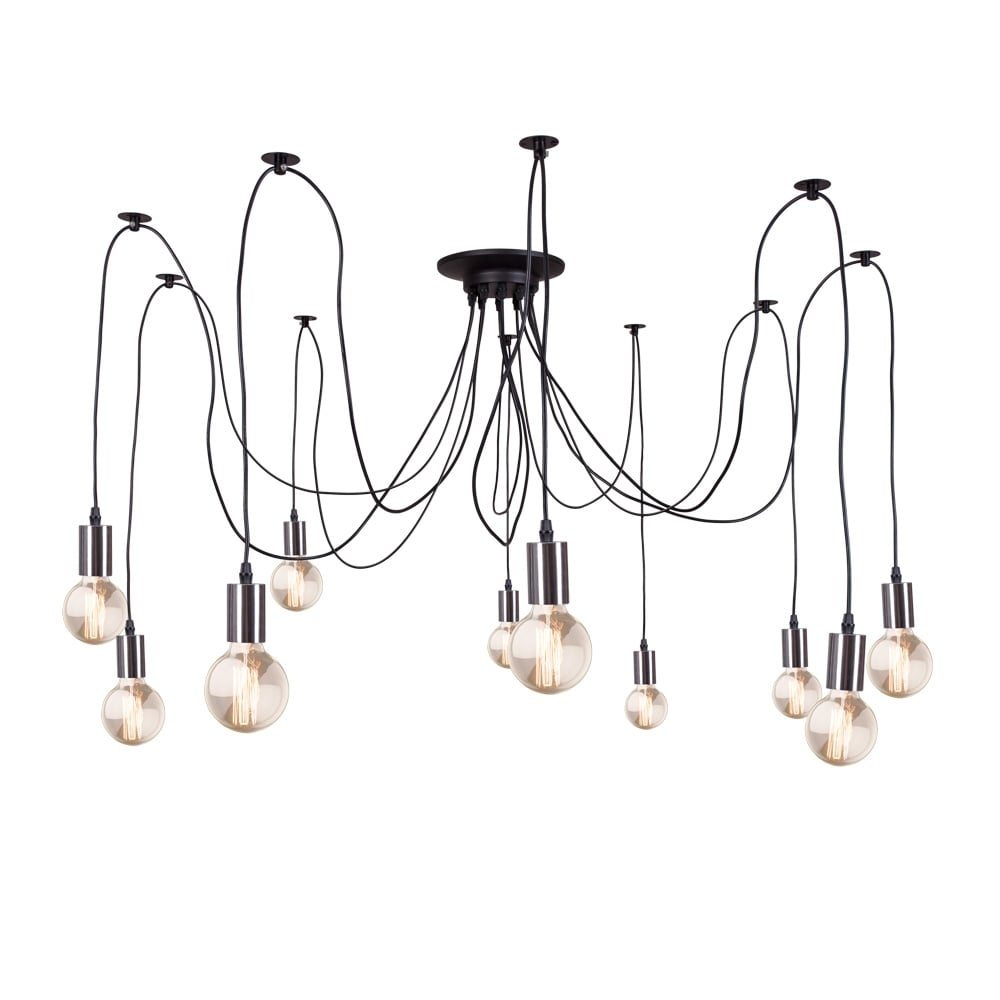 Edison spider lamp in chrome contemporary modern for Cable suspension luminaire