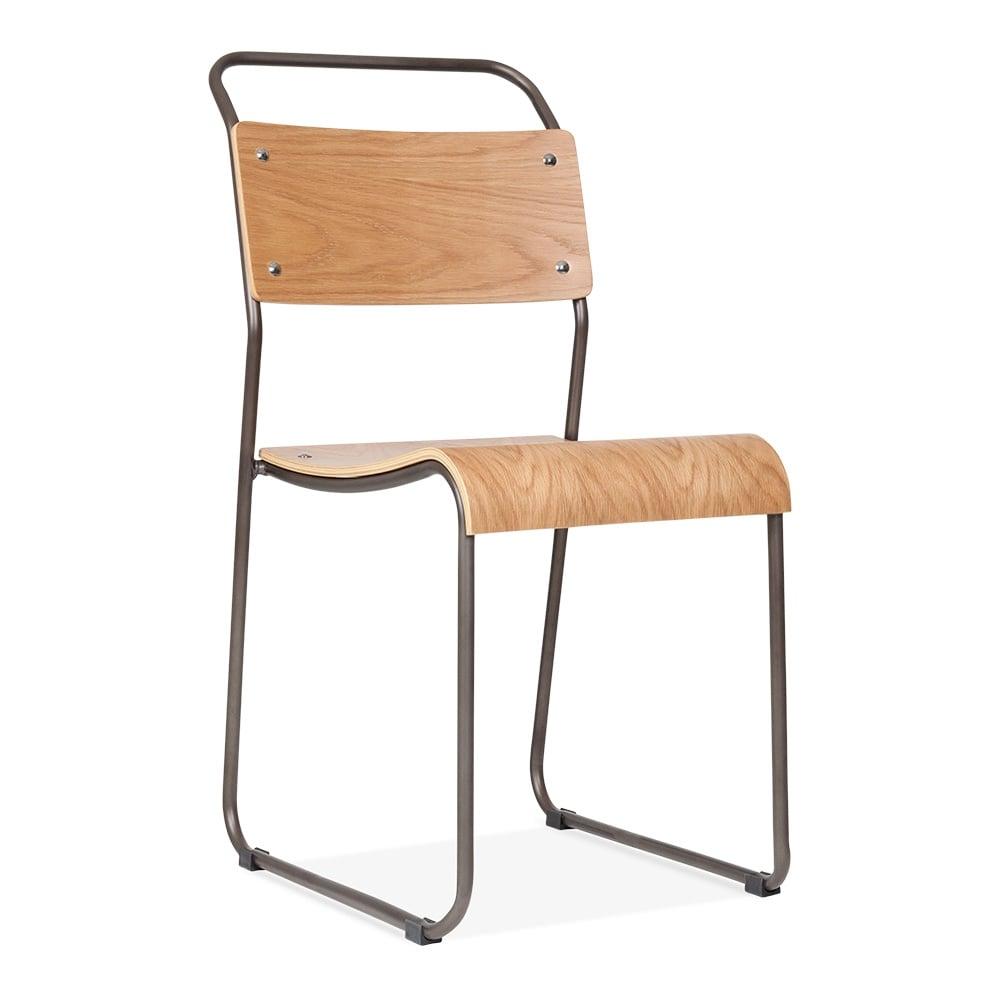 Bauhaus Industrial Gunmetal Stackable Chair Dining