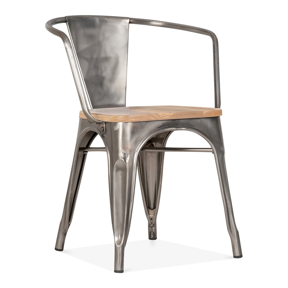 xavier pauchard tolix style armchair with wood seat option gunmetal u2039
