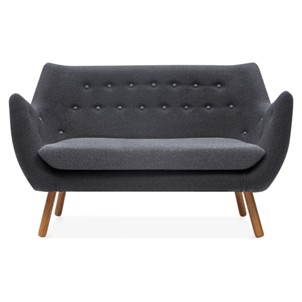 cult living poet 2 seater sofa dark grey grey buttons