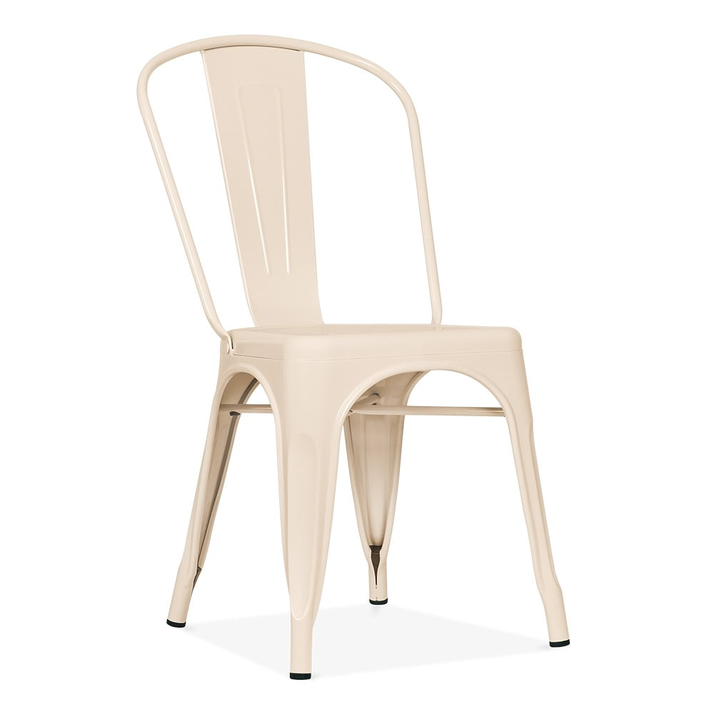Xavier Pauchard Tolix Style Metal Side Chair   Cream