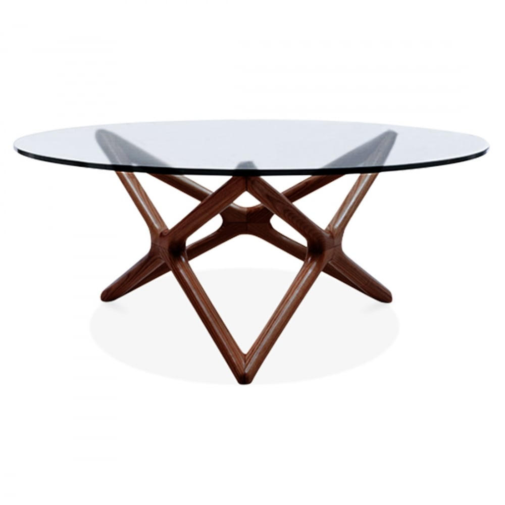 Walnut Finish Beech Wood Star Glass Top Coffee Table Living Room