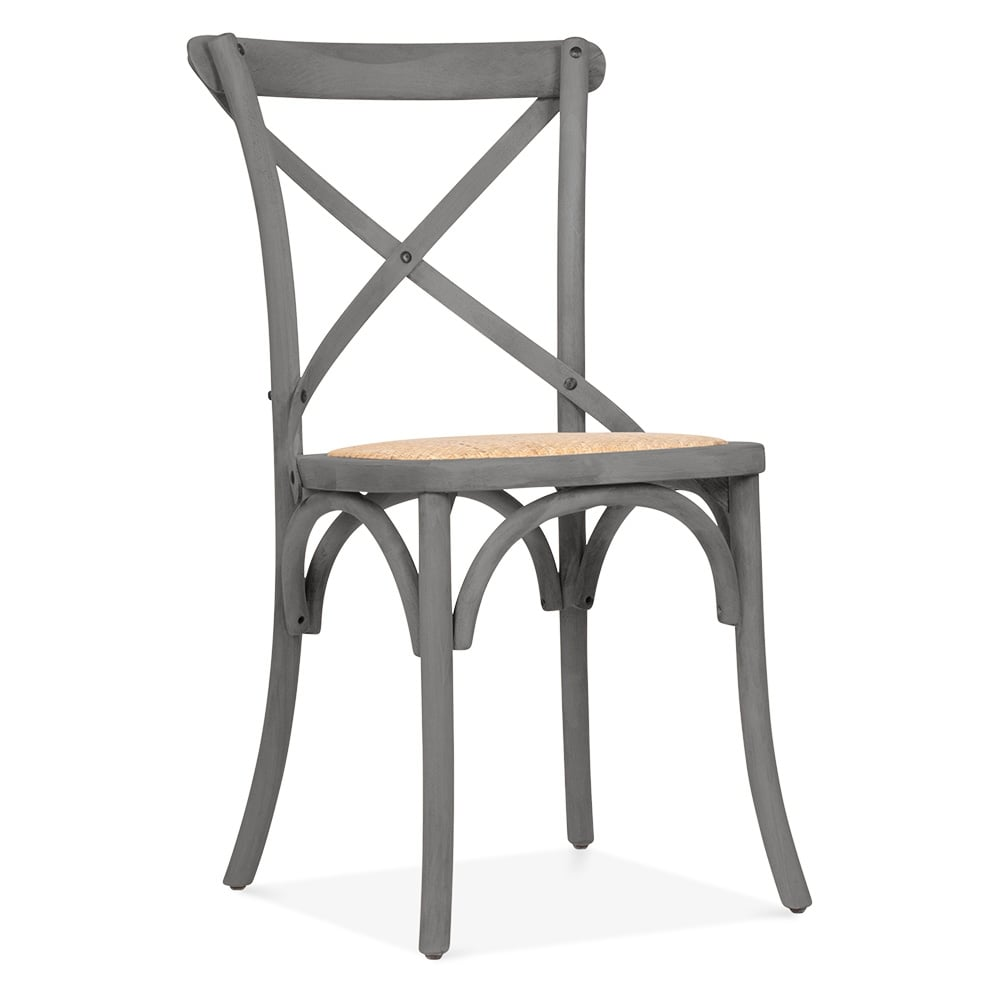 cult living crossed back grey bistro chair cafe bistro