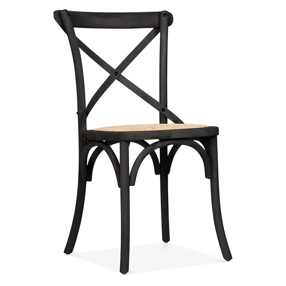 cult living crossed back black bistro chair | cafe bistro chairs