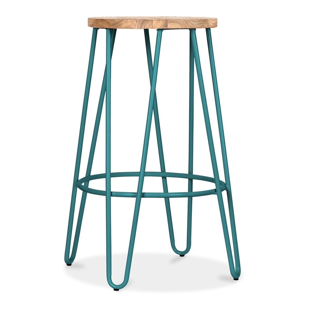 Hairpin 66cm Teal Stool With Natural Wood Seat Cult