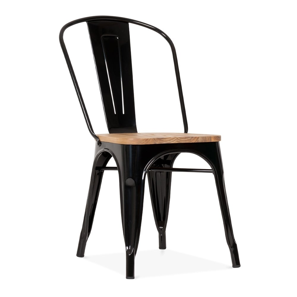 Black metal tolix side chair with elm wood seat cult for Chaise noire et bois