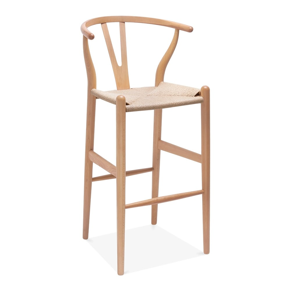 Cult Living Wishbone Wooden Bar Stool with Backrest - Natural / Natural 75cm  sc 1 st  Cult Furniture & Wishbone Wooden Bar Stool with Backrest Natural 75cm | Cult UK islam-shia.org
