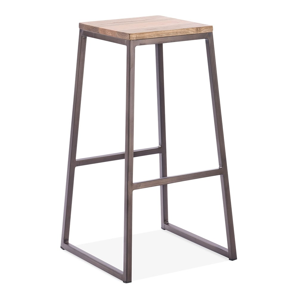 Consec Metal Stool With Natural Wood Seat Rustic 75cm