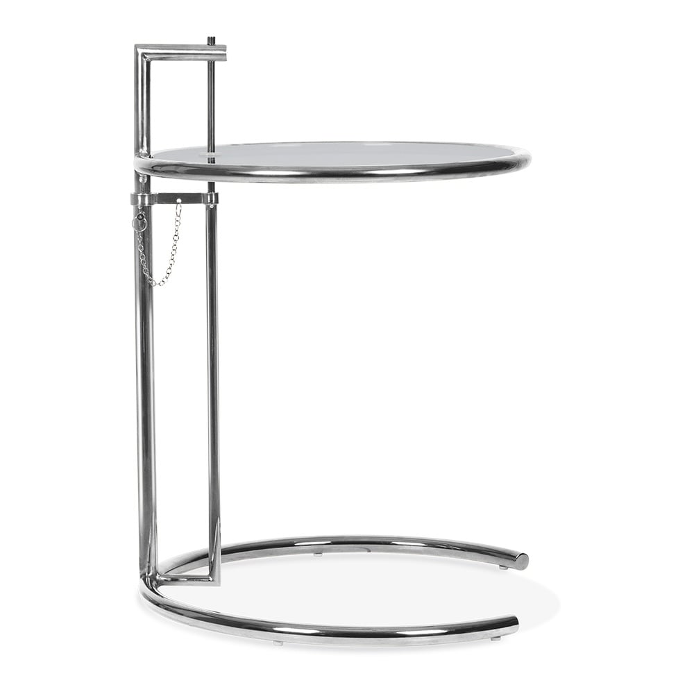 eileen gray style side table chrome and tinted glass cult furniture. Black Bedroom Furniture Sets. Home Design Ideas
