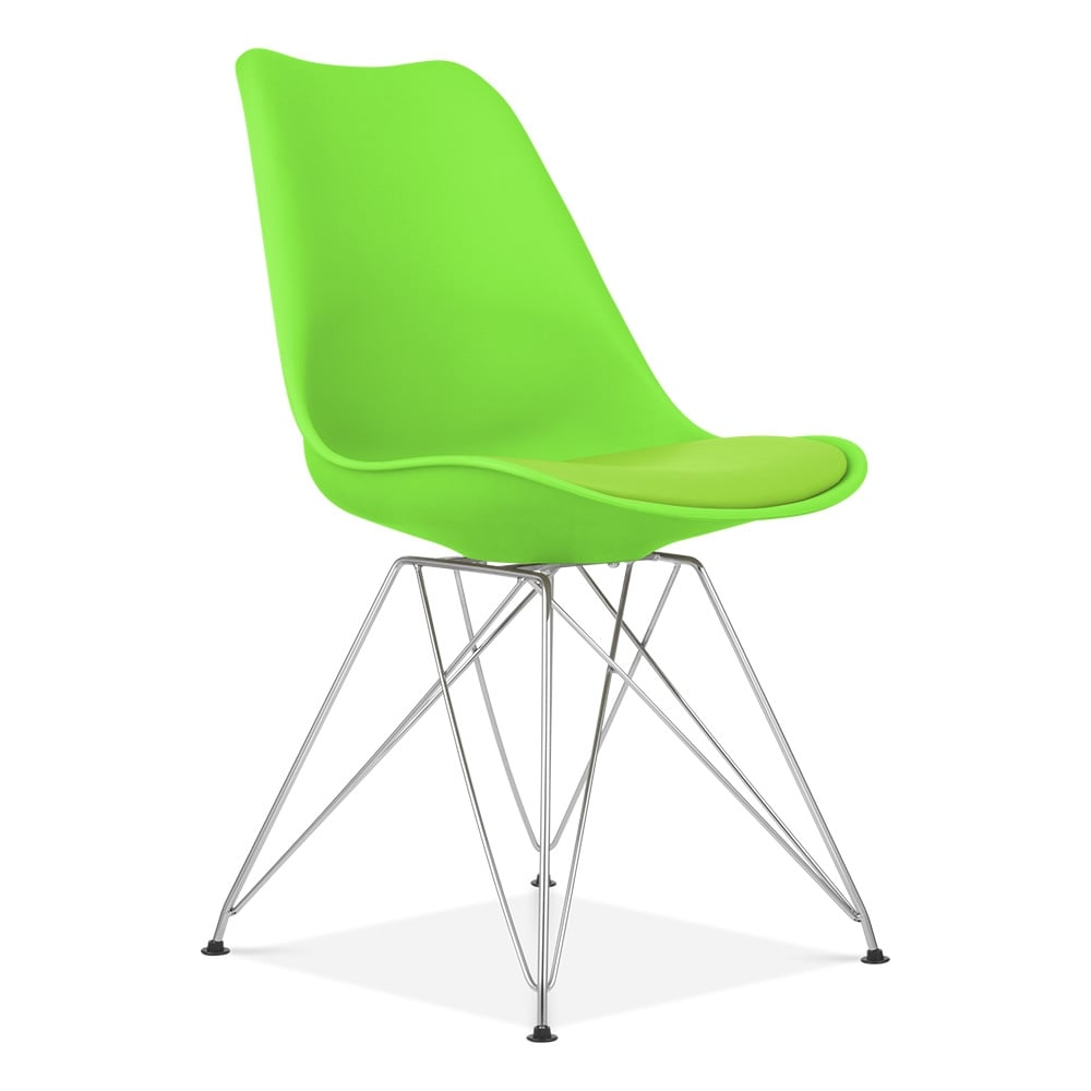 dining chair in green with eiffel style metal legs  cult furniture - eames inspired lime green dining chair with eiffel metal legs