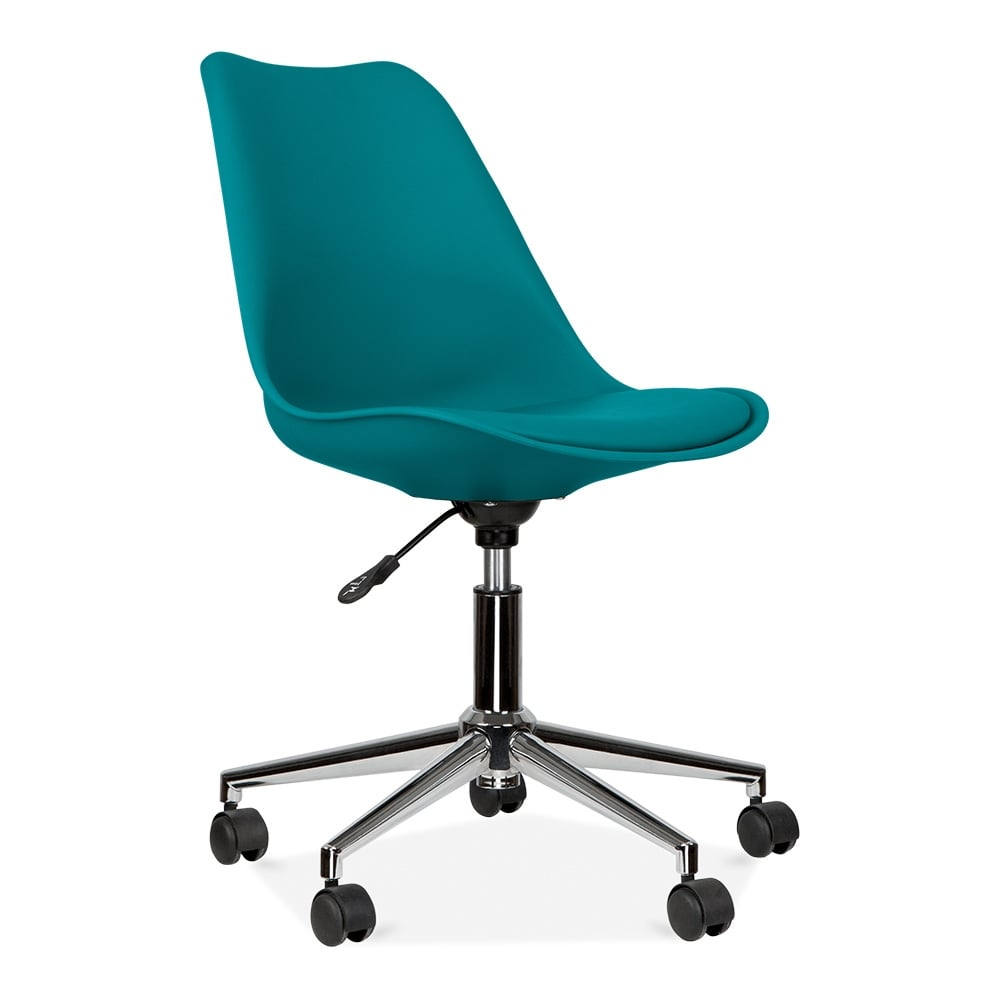 Eames inspired teal office chair with castors cult uk for Design furniture replica uk blue
