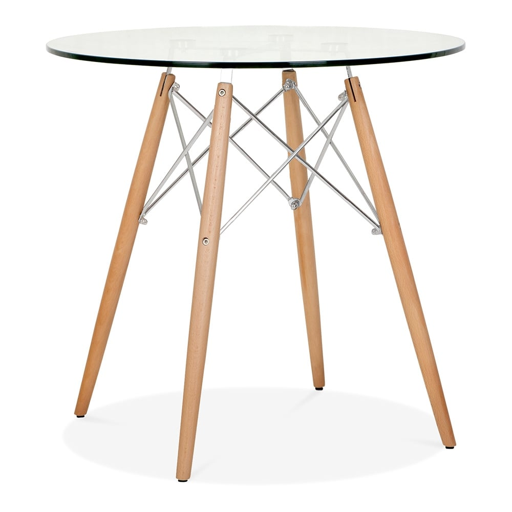 Eames dsw glass table with wooden legs 70cm dining for Esstisch modern glas