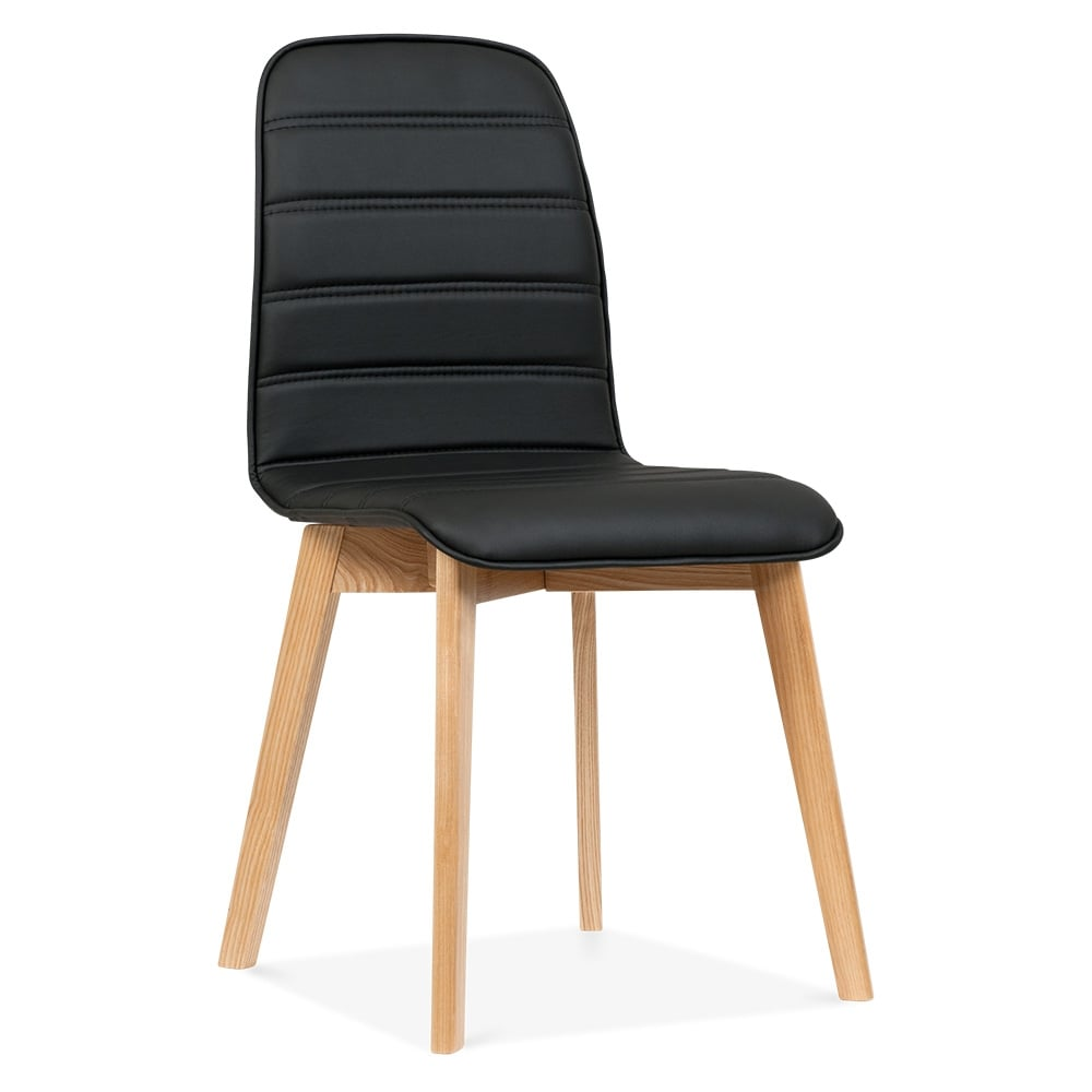 Cult living black meyer faux leather dining chair cult for Black leather dining chairs