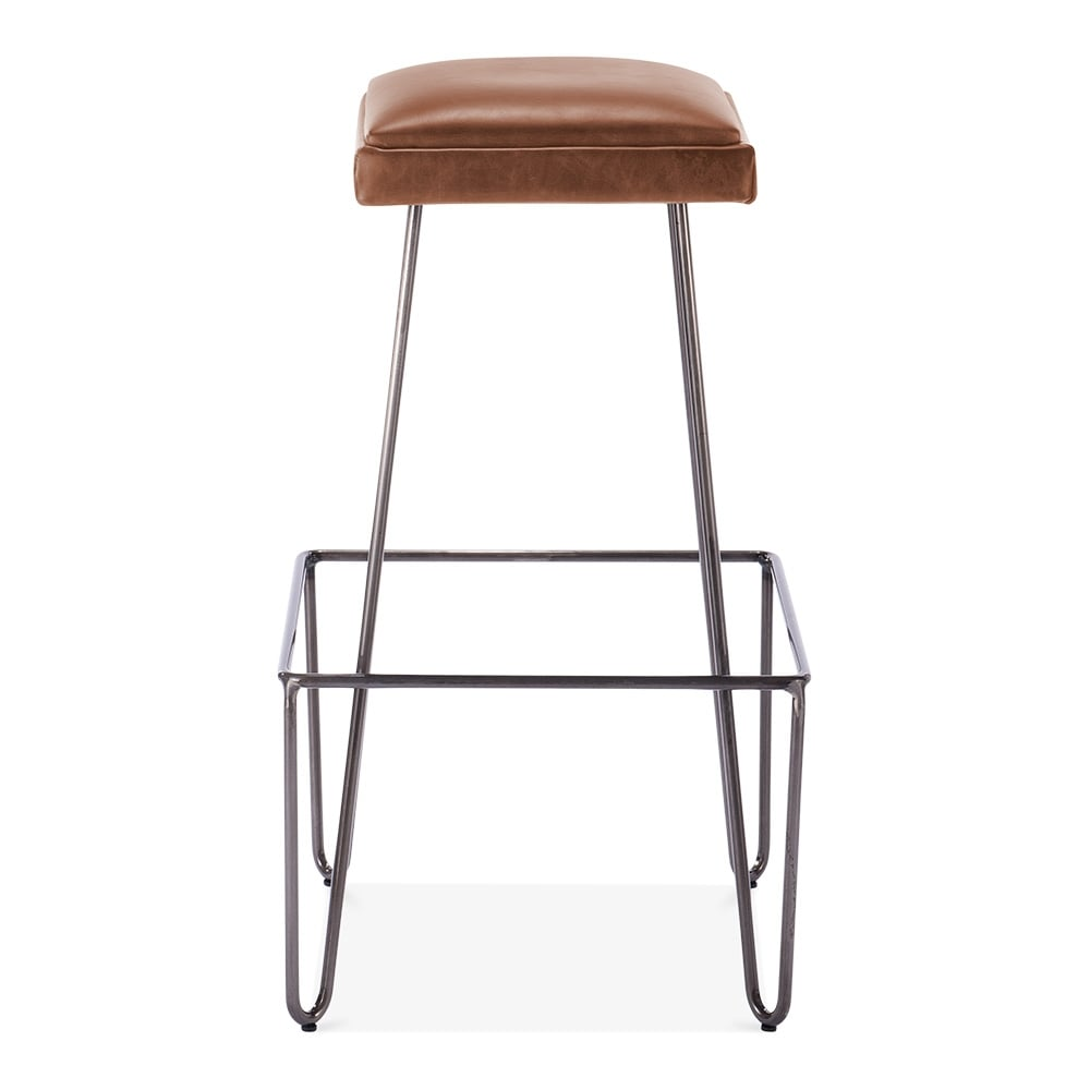 Newton Metal Bar Stool With Leather Cushion Seat Brown 76cm Cult Uk
