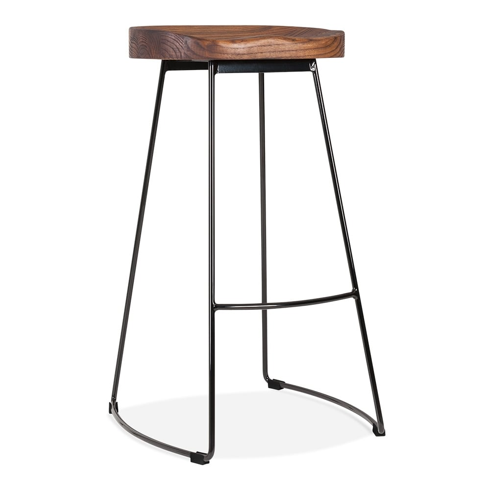 victoria metal bar stool with solid wood seat black 75cm cult uk. Black Bedroom Furniture Sets. Home Design Ideas