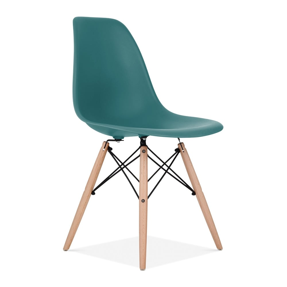 Iconic Designs DSW Dining Chair, Natural Leg, Teal. U2039