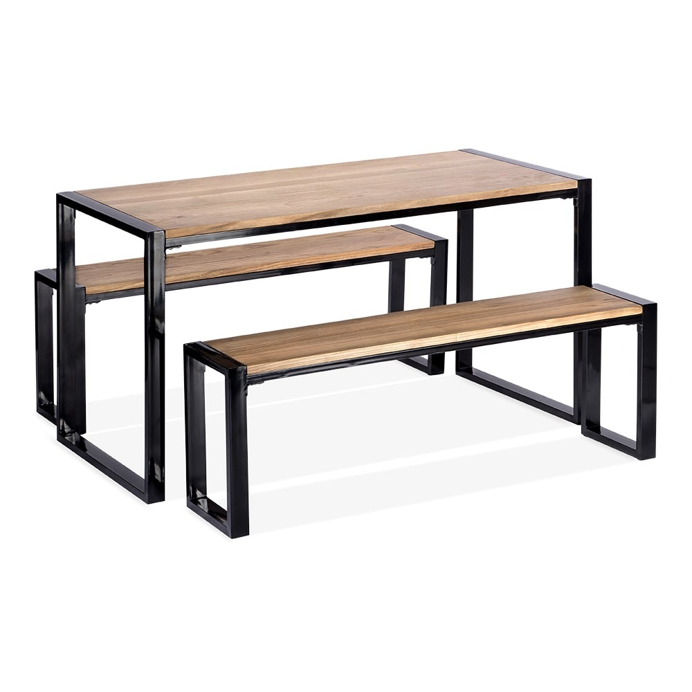 Cult living gastro solid wood table and benches set black for Table noir et bois